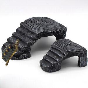 Tortoise-Turtle-Basking-Reptile-Platform-Tank-Water-Rock-Ladder-Aquarium-Decor