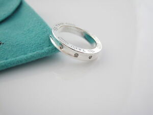 d418231741c92 Details about Tiffany 1837 Silver Three 3 Diamond Circle Round Stacking  Ring Band Size 4.5!