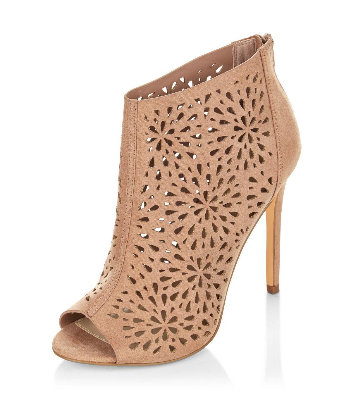 New Look Pink High Heels Pink Suedette Peep Toe with Zip High Heels Size 5 NEW