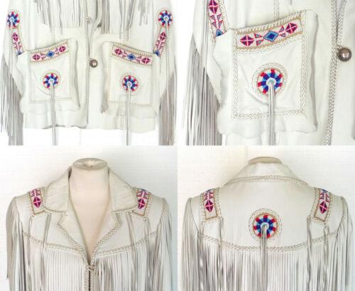 Stile Uomo Cowboy Cappotto In Da Con Giacca Bianco Pelle Frange zx7YHS4wq