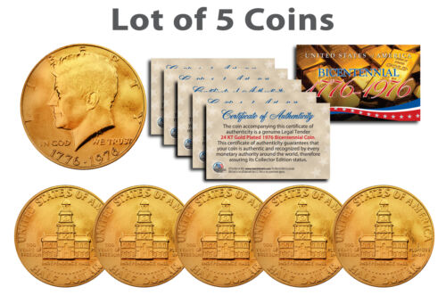 Bicentennial 1976 JFK Half Dollar US Coins 24K GOLD PLATED w//Capsules *Lot of 5*