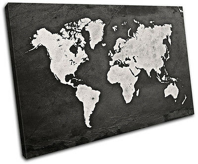 World Atlas Grunge Vintage Maps Flags Single Canvas Wall Art Picture Print Ebay