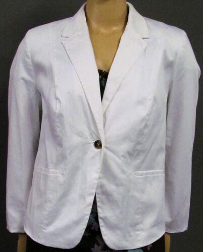 Taschen Reverskragen Stretch große Gr 50 Neu Damen Blazer Jacke in weiß Knopf