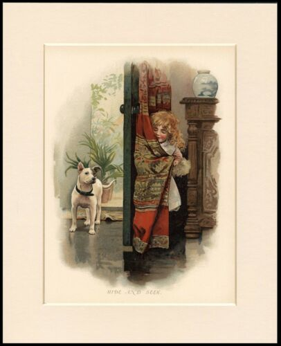 BULL TERRIER AND LITTLE GIRL PLAY HIDE AND SEEK LOVELY DOG PRINT READY TO FRAME