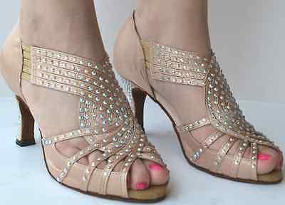 New Women Crystal Rhinestone Ballroom Latin SALSA Tango Dance Shoes All Size