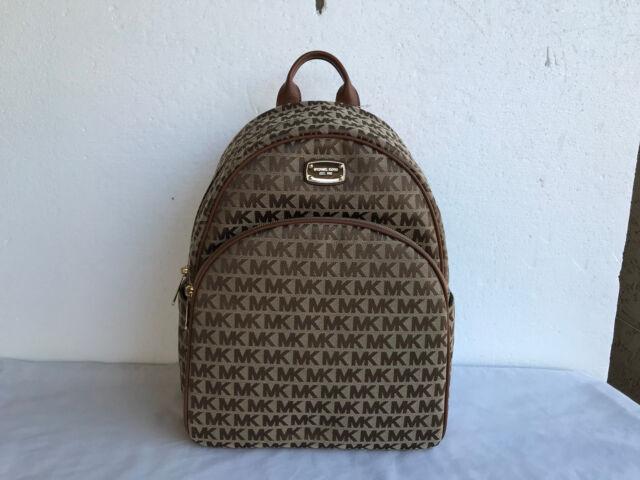 bb987f0dd684 Michael Kors Large Abbey Backpack MK Signature Monogram Bag Luggage  38H7XAYB7J