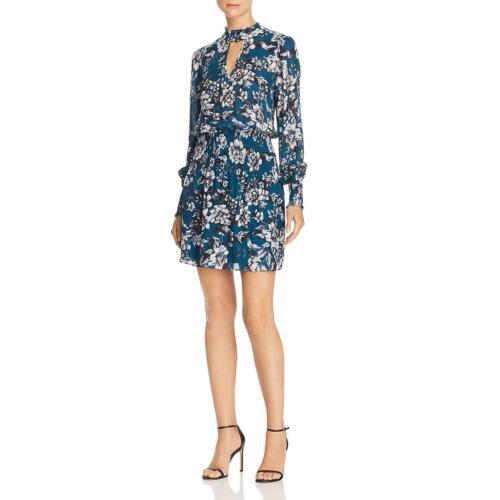Parker Womens Robyn Blue Smocked Floral Print Mini Dress S BHFO 0228