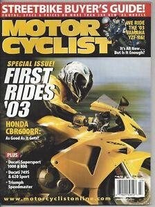 Vintage Magazine Motor Cyclist March  2003 Honda CBR600RR Ducati 749S 620 Sport