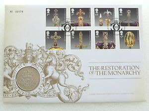 2010-Royal-Mint-Restoration-Monarchy-BU-5-Five-Pound-Coin-First-Day-Cover