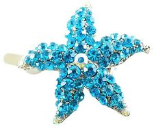 Magnet Hair Clip use Swarovski Crystal Hairpin Starfish Seastar Mermaid Blue 02