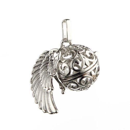 1pcs New DIY Angel Wings Silver Hollow Ball Alloy Charms Pendant  Fit Necklace