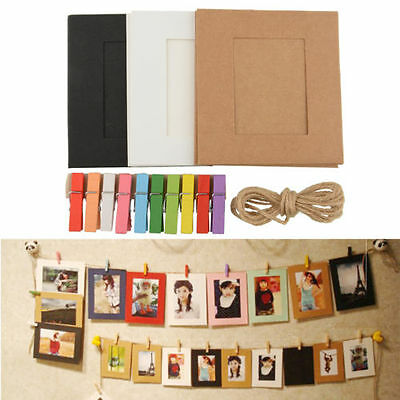 1Set Hanging Paper Frame Photo Album String Art Clips Rope Pictures Wall Decor