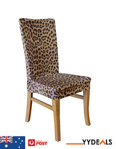 Sure Fit Dining Chair Slip Cover Armless Stretch Slipcovers Leopard Print N
