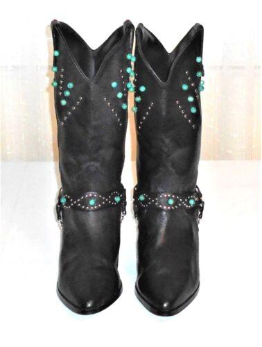 en goujons M décorées Occidentales Boot Co Santa 5 avec Fe 9 Perle Femmes cuir noir y0Pm8vNnwO