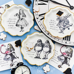 Image is loading Truly-Alice-in-Wonderland-PAPER-PLATES-&-NAPKINS-  sc 1 st  eBay & Truly Alice in Wonderland PAPER PLATES u0026 NAPKINS SET - Mad Hatteru0027s ...
