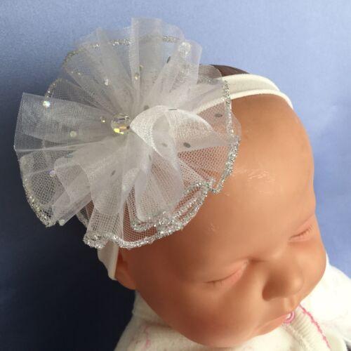 Baby Girl Pretty White//Silver// Crystal Christening Headband Headdress Wedding