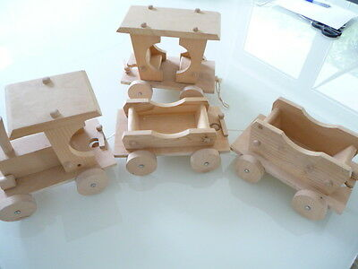 * Selten Xxl Holz Modell Dampflok Mit 3 Waggons Anhängern Gesamt 103 Cm Lang Modernes Design