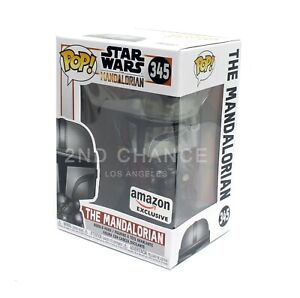 IN-HAND-Funko-Pop-Disney-Star-Wars-Chrome-Mandalorian-345-AMAZON-Exclusive-Viny