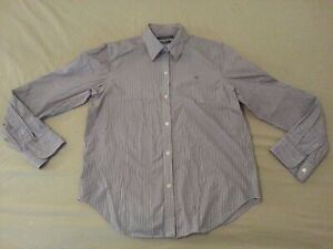 Womens-Polo-Ralph-Lauren-Dress-Shirt-M-Medium-Purple-Stripes-Button-Cotton