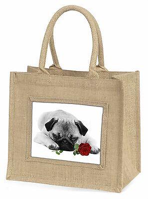 Mops S+W Foto mit rotem Rose Große Natürliche Jute-einkaufstasche Chris,