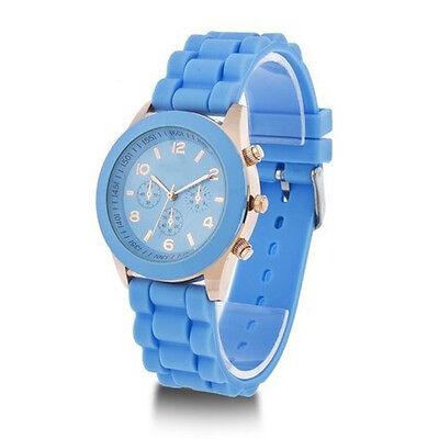 Geneva Silicone Golden Crystal Stone Quartz Ladies Women Girls Jelly Wrist Watch