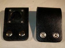 Vintage New Black Leather Police Radio D Clip Belt Holder For A Holster