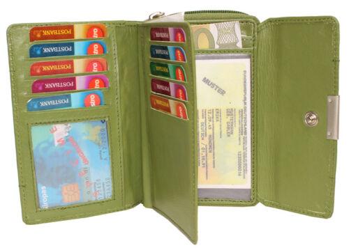 Damen Leder Geldbörse Geldbeutel Portemonnaie 10 Kartenfächer weiches Leder