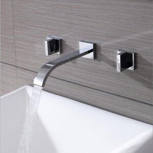 Wand montiert 3 stk badewanne wasserfall auslauf hahn chrom mischbatterie ebay - Wand wasserfall ...