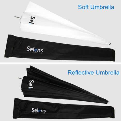 "Selens 105CM 41/"" Flash Deep Parabolic Reflective White Soft Umbrella Diffusion"