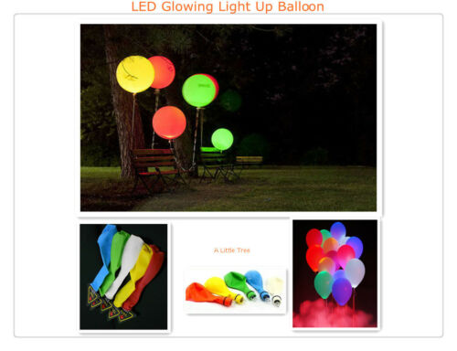 10 Mixed Colour LED Light Up  Balloon Celebration Party Decorations