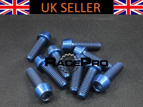 6x Titanium Tapered Bolt GR5 M5 x 18mm x .8mm Blue Allen Head RacePro