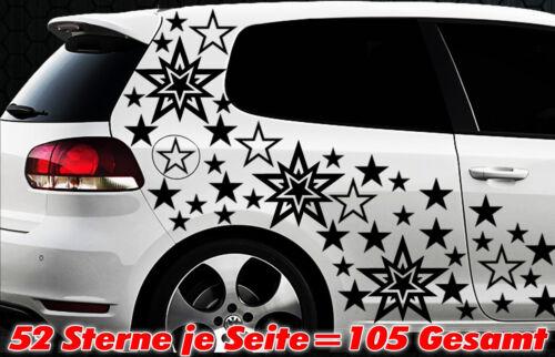 105 Sterne XXL Set Star Auto Aufkleber Sticker Tuning Stylin WandtattooTribel x3
