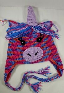 Unicorn-Hat-Hand-made-multi-colored-childs-hat-Purple-horn-Magical-pony-warm