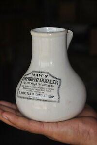 Vintage-Maw-039-s-Improved-Inhaler-Ad-Porcelain-Ceramic-Pot-London