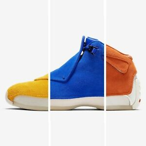 7850a6d3d4d2 Nike Air Jordan 18 Retro Suede Yellow Blue Orange Mens Basketball ...
