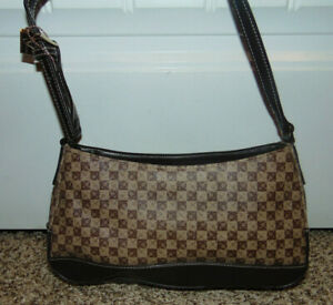 Liz-Claiborne-Womens-Leather-Handbag-Monogrammed-LC-Brown-Purse-Brown-Red-Interi
