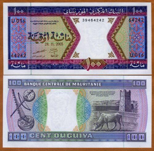 100 Ouguiya Cow UNC /> Musical Instruments Fort P-4 Mauritania 2001 4j
