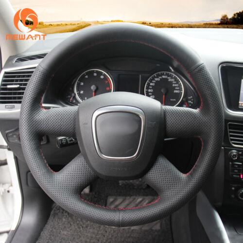 Custom Black Genuine Leather Steering Wheel Cover for Audi A3 A4 B8 A6 C6 Q5 Q7