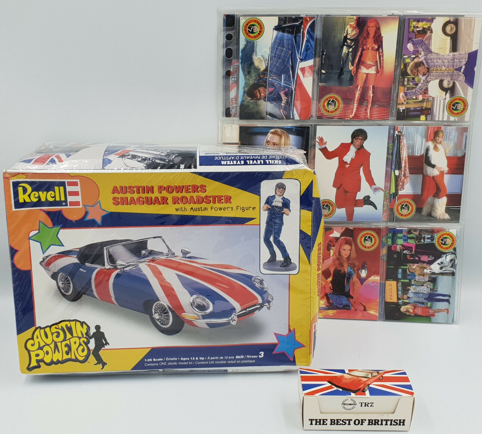 AUSTIN POWERS   SHAGUAR MODEL KIT, TRADING CARDS, TRIUMPG TR7 DIE CAST MODEL SET