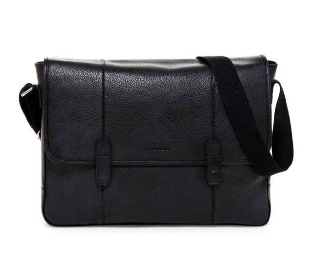Cole Haan Black Pebbled Leather Messenger Bag Chdm11027