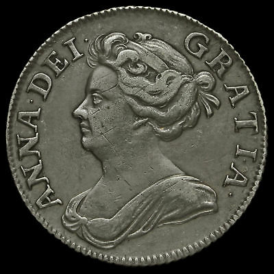 1708 Queen Anne Early Milled Silver Shilling, Third Bust, Plumes in Angles