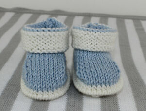 KNITTING-INSTRUCTIONS-BABY-2-COLOUR-BOOTIES-SHOES-BOOTEES-KNITTING-PATTERN