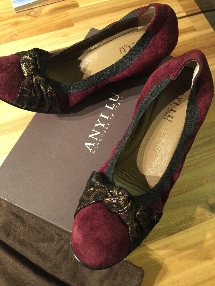 Anyi Anyi Anyi Lu Bordo Suede Wedge Antiqued leopard Bow Slip On