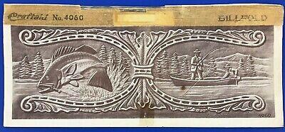 Vintage Craftaid Leather Billfold Template #4060 Fishing Scene Craftool Pattern
