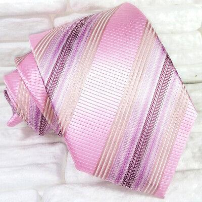 Ben Informato Cravatta Regimental Rosa Classica Seta Made In Italy Matrimoni Business Rp € 39 Garanzia Al 100%