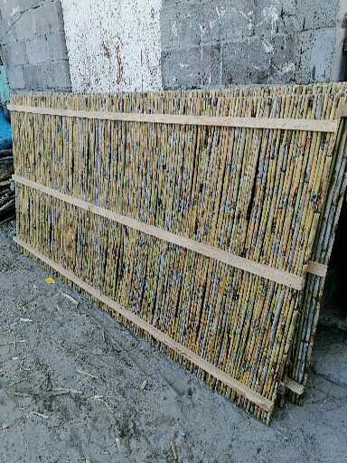 Bamboo screen and wooden panels