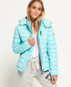41235dbd6673 New Womens Superdry Fuji Slim Double Zip Hooded Jacket Aqua Mint ...