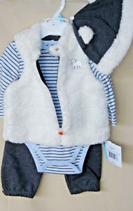 47e4e3cdd LITTLE ME 3 pc Heather Gray BEAR Sherpa Vest Set w Hat BOY SIZE 6M ...