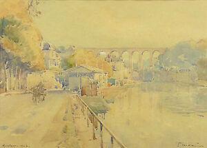 Actif Jean Nicol (1885-1980) Vue De Morlaix Paysage De Bretragne Finistère France Peut êTre à Plusieurs Reprises Replié.