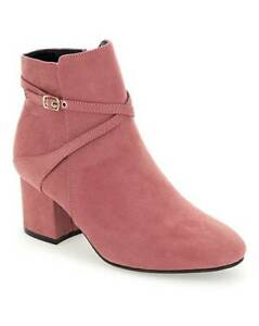 WOMENS-PINK-EXTRA-WIDE-FIT-EEE-ANKLE-BOOTS-LOW-HEEL-ZIP-UP-COMFY-SHOES-SIZES-4-9